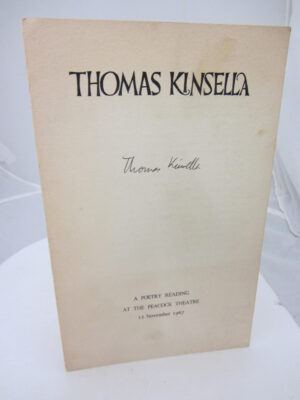 A Poetry Reading at the Peacock Theatre. 12 November 1967. Signed by Thomas Kinsella