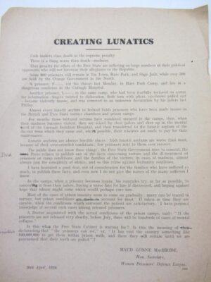 Handbill Entitled: 'Creating Lunatics.' by Maud Gonne