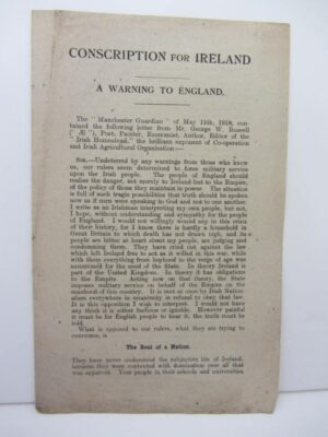 Conscription for Ireland. A Warning to England. The scarcest of AE's celebrated open letters (1919) by A.E. [George Russell]