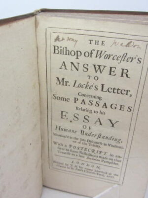 The Bishop of Worcester's Answer to Mr. Locke's Letter (First & Second Letters) 1697 by Edward Stillingfleet