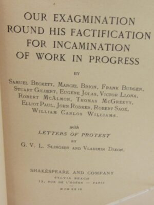 Our Exagmination Round his Factification. First Edition (1929) by Samuel Beckett Et al.