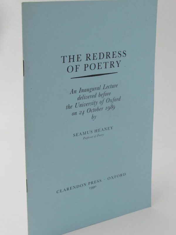 The Redress of Poetry. Signed Copy (1990) by Seamus Heaney