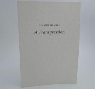 A Transgression. Inscribed Copy (1991) by Seamus Heaney